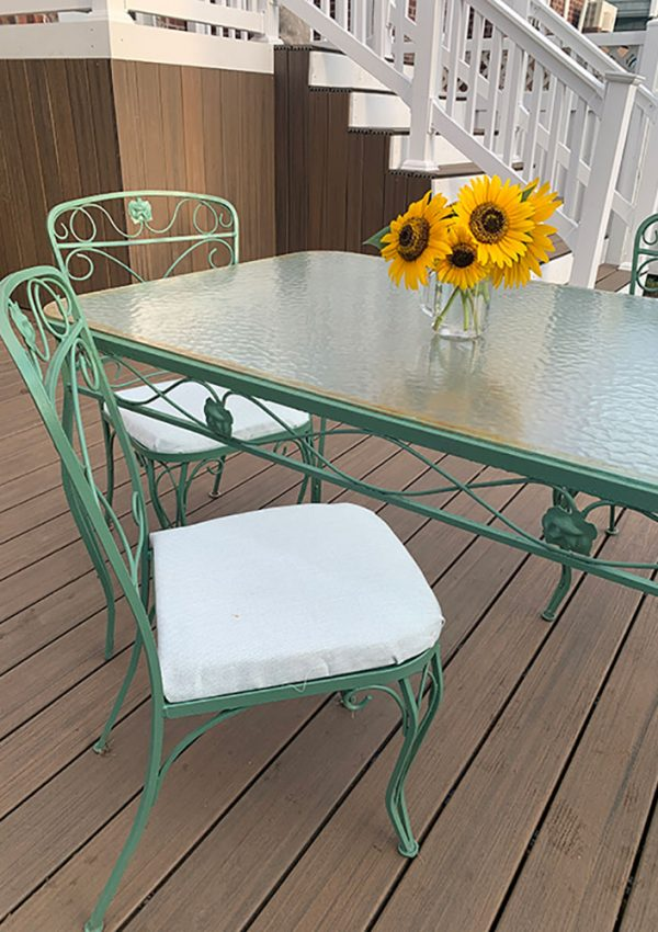repurposed wrought iron patio furniture table set