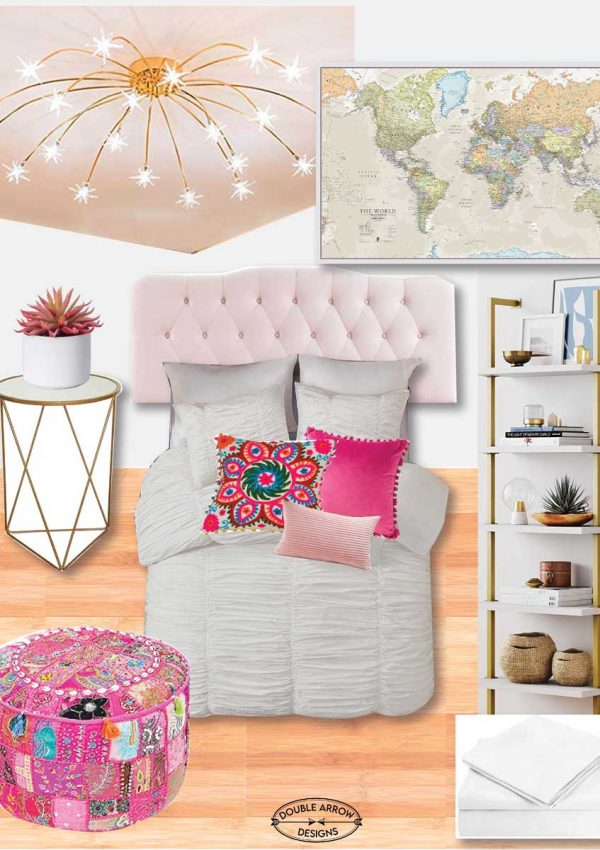 emmas bedroom moodboard with gold metal and pink accents