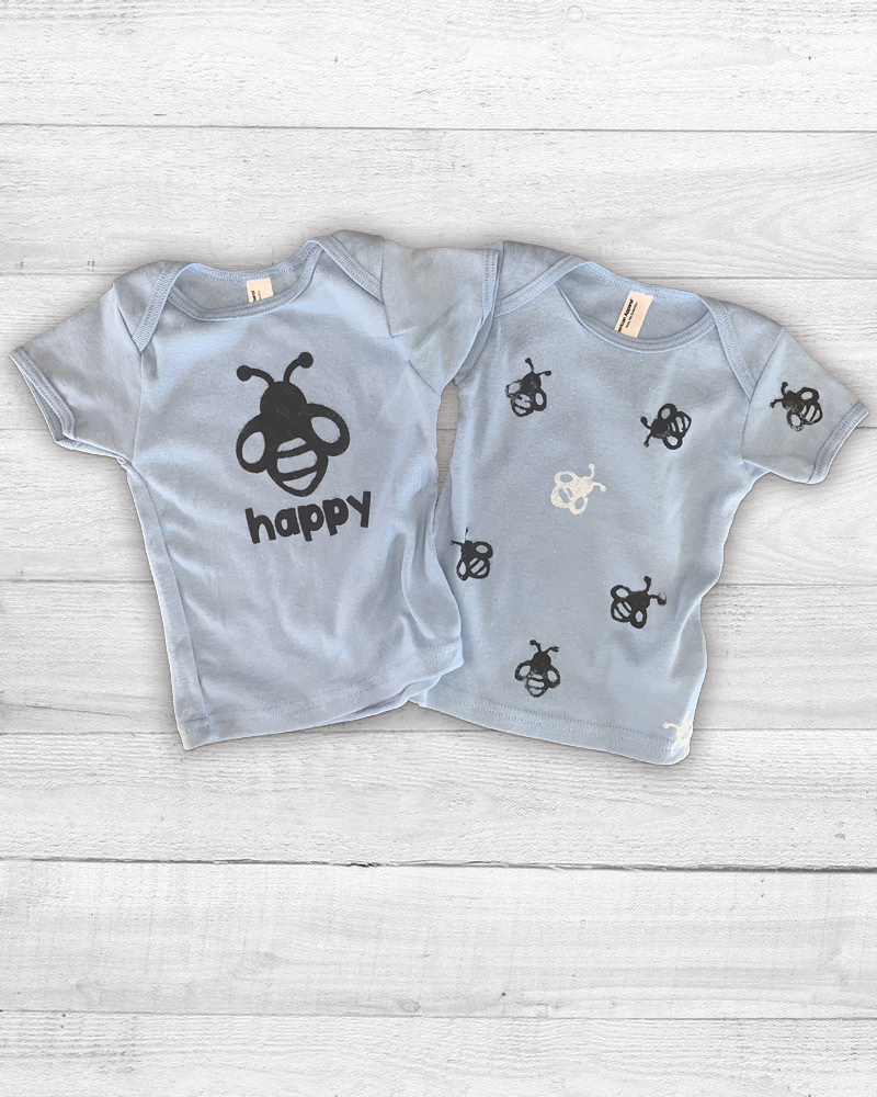 Printed kids t-shirts one with a graphic of a bee then happy another with allover bee print