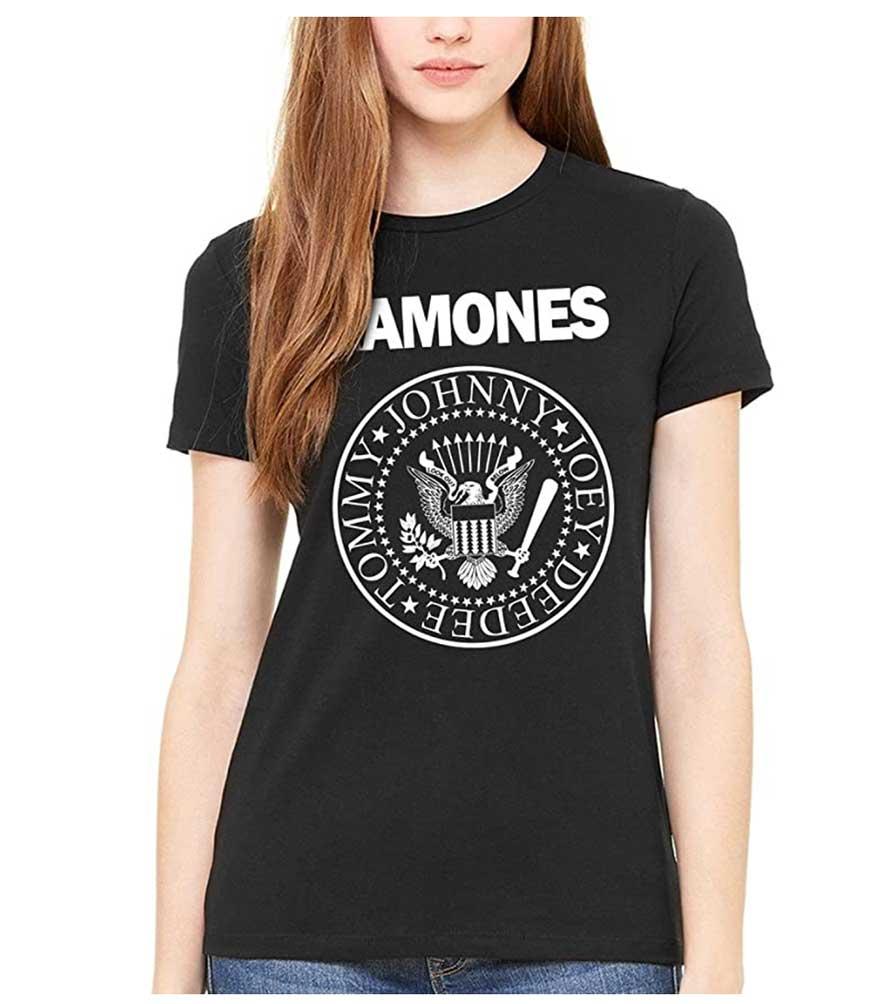 model in black ramones tee shirt