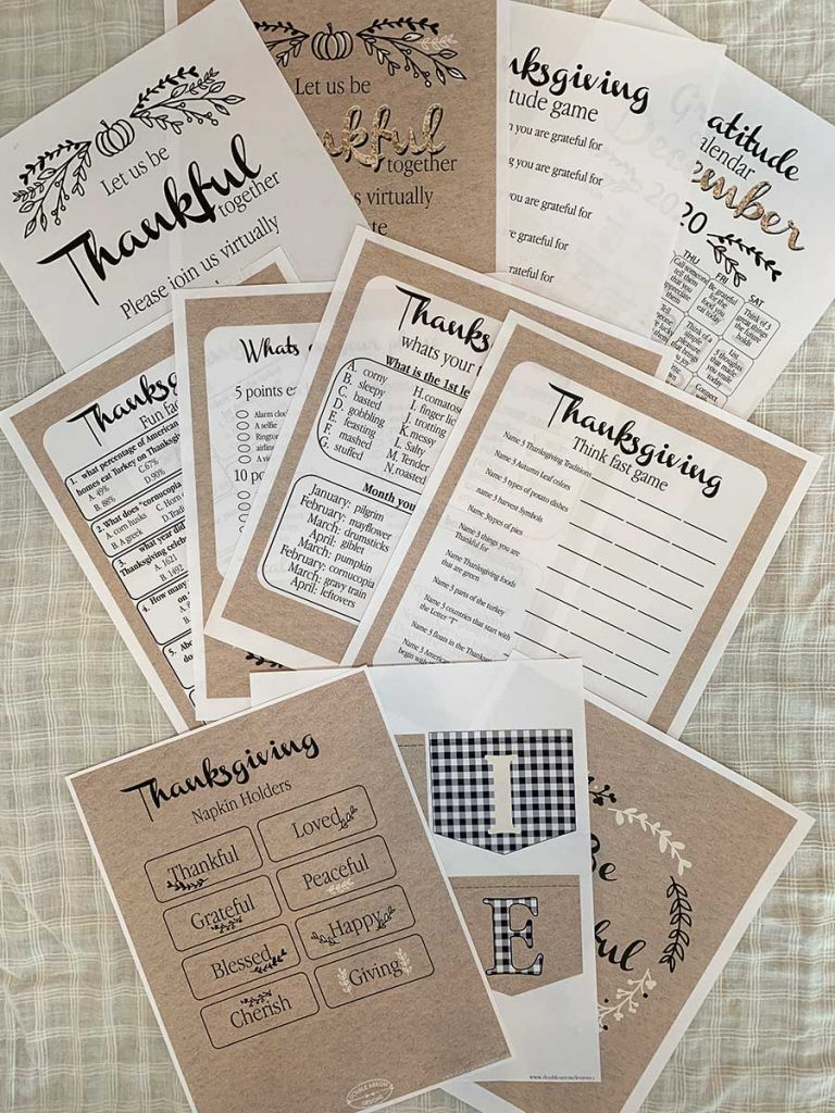 Thanksgiving day printables showing an invitation, games, napkin holders, and a paper banner