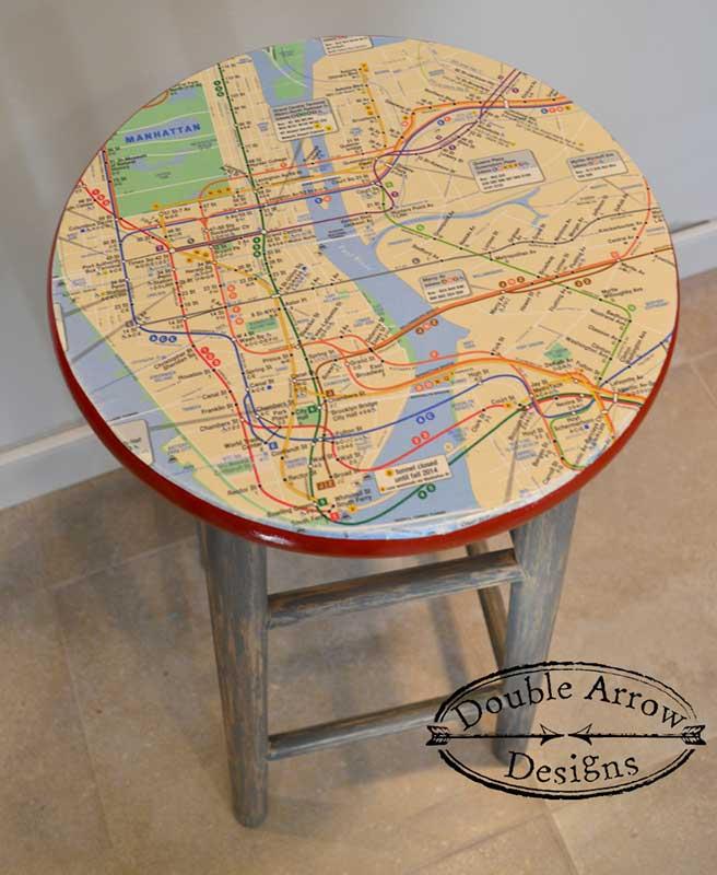nyc subway map decoupage on wood stool