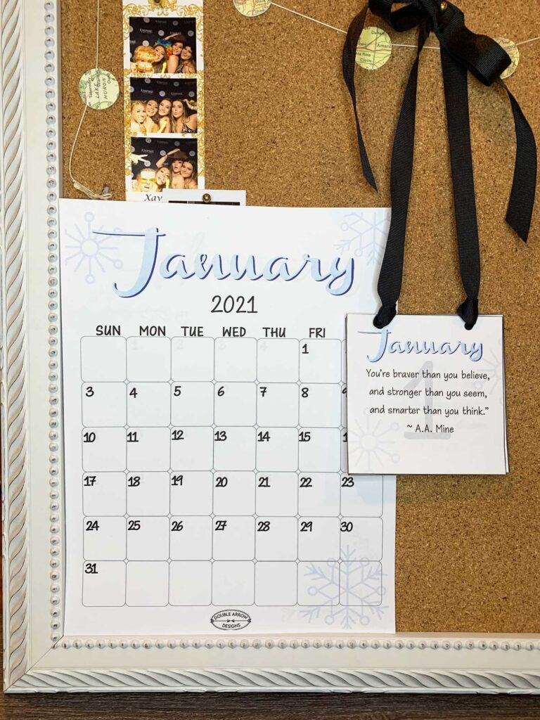 bulletin board with 2021 calendar