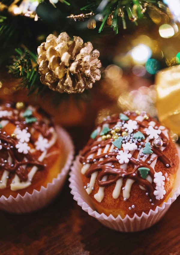 Holiday cupcakes with sprinkles