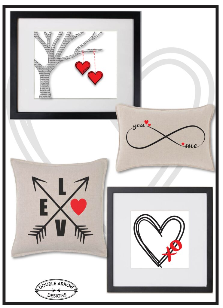 Display of Valentines day themed graphics in frames and on pillows