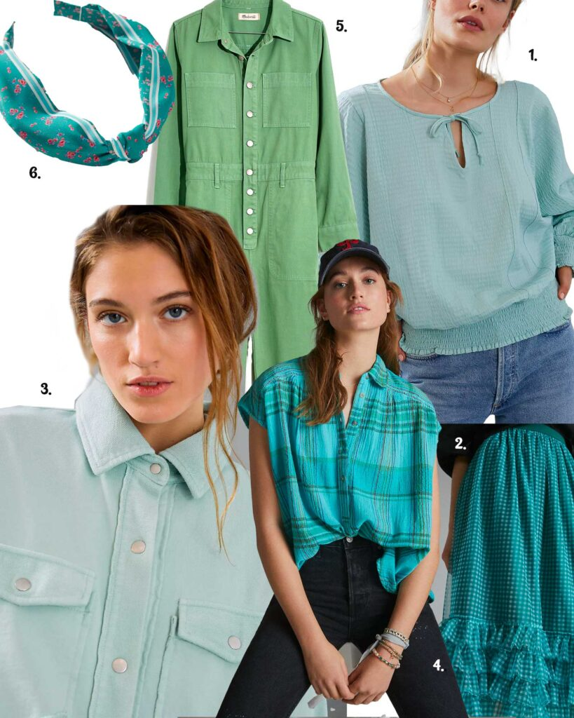 Models in a variety of mint to blue colors in apparel