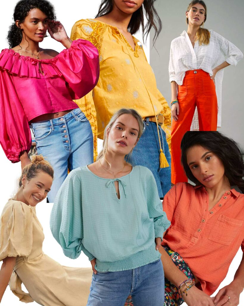 Spring 2021 color trend featuring various models in spring colors.