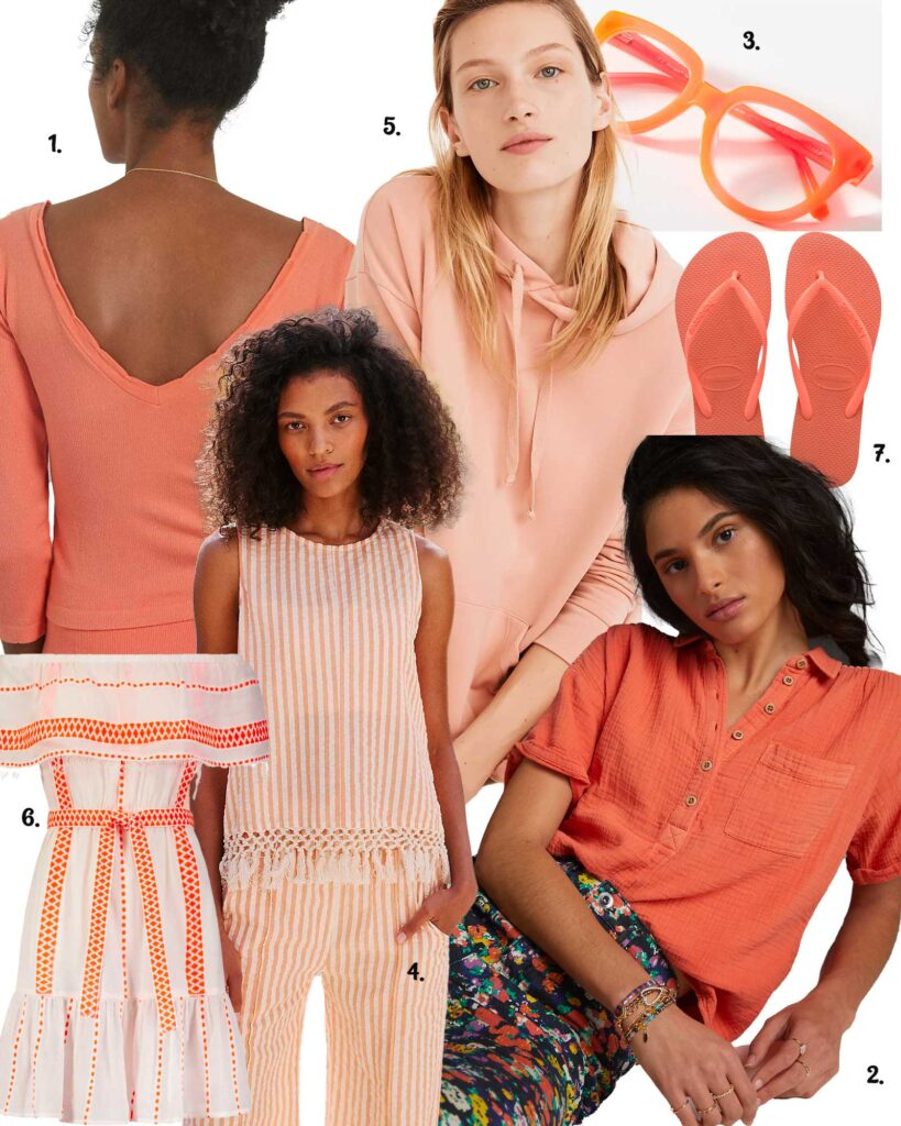 models in a variety of coral colors for spring