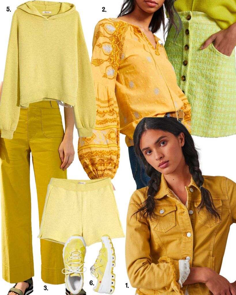 Models in a variety of yellow apparel for spring