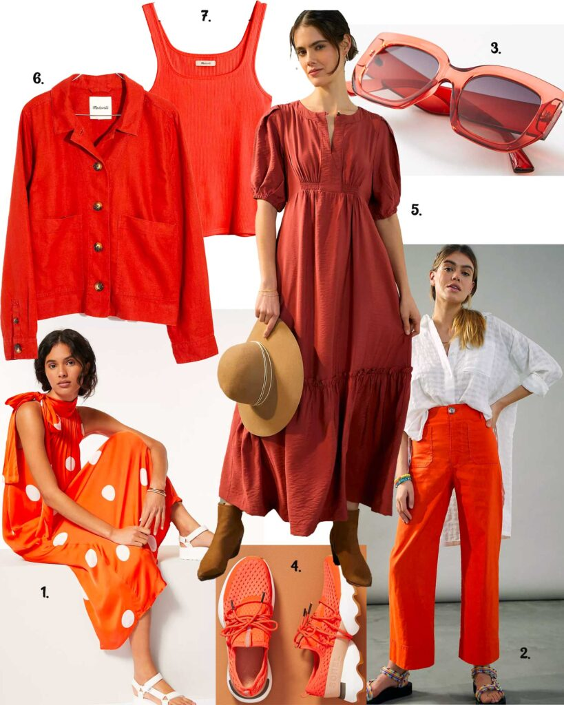 Models in a variety of orange apparel or spring