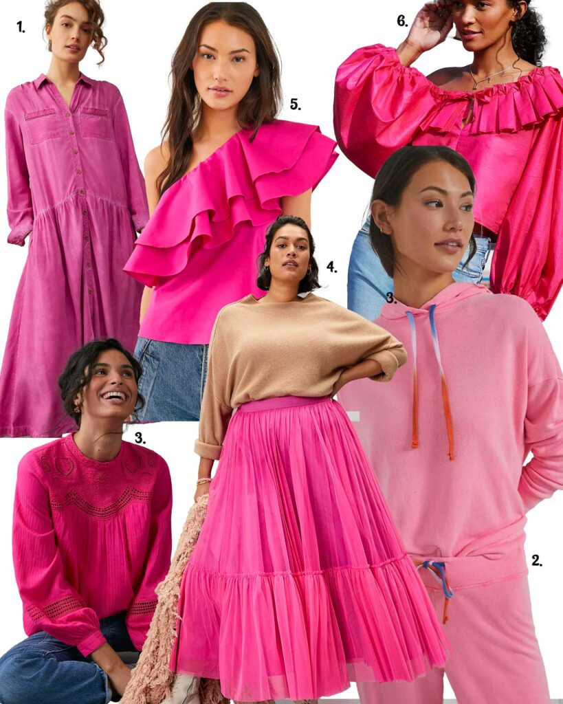 models in a variety of hot pink apparel
