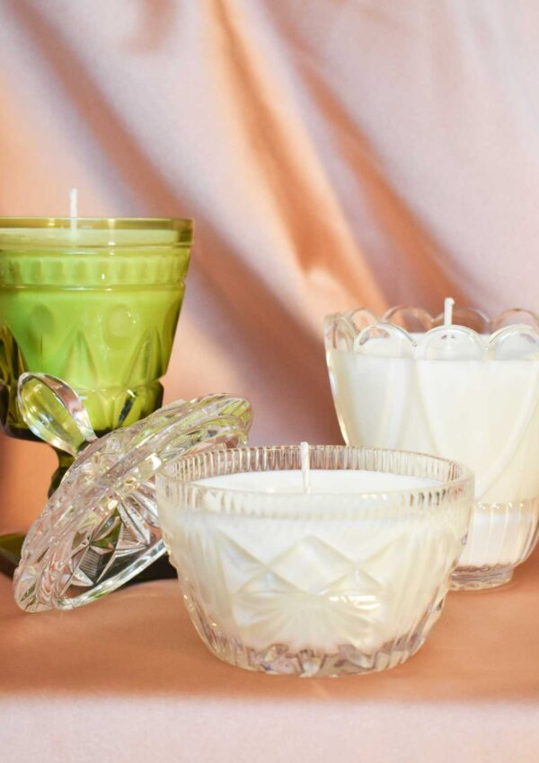 Candles In Vintage Glassware that you will love!