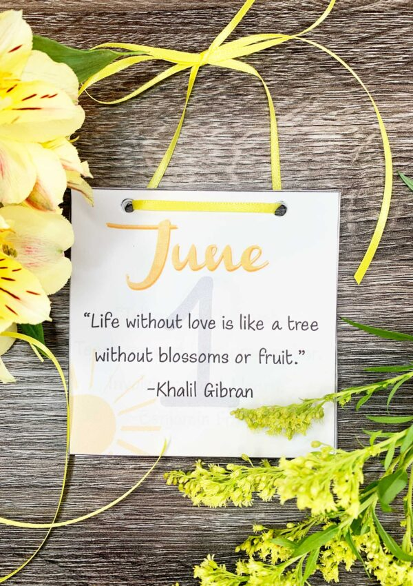 June 2021 Inspirational calendar with yellow ribbon and flowers