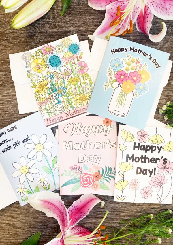 5 mothers day cards on table to print