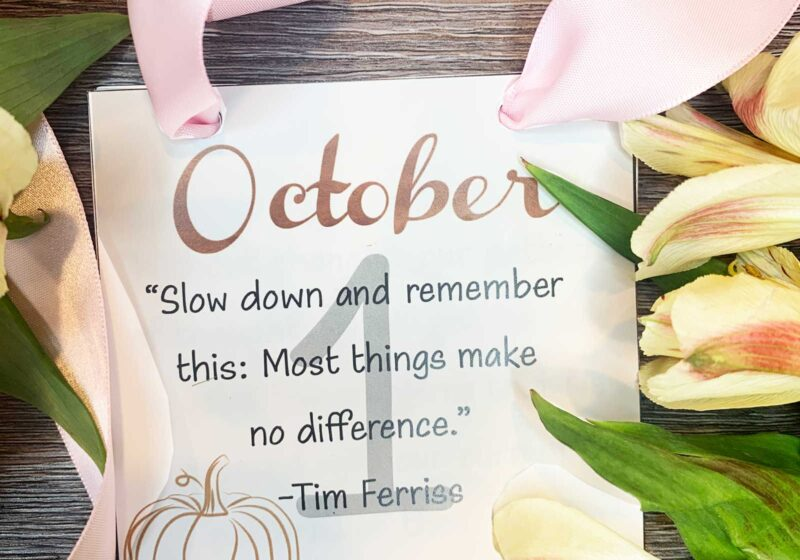 october inspirational calendar with ink ribbon and flowers