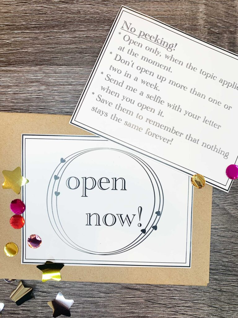open now envelope with instructions