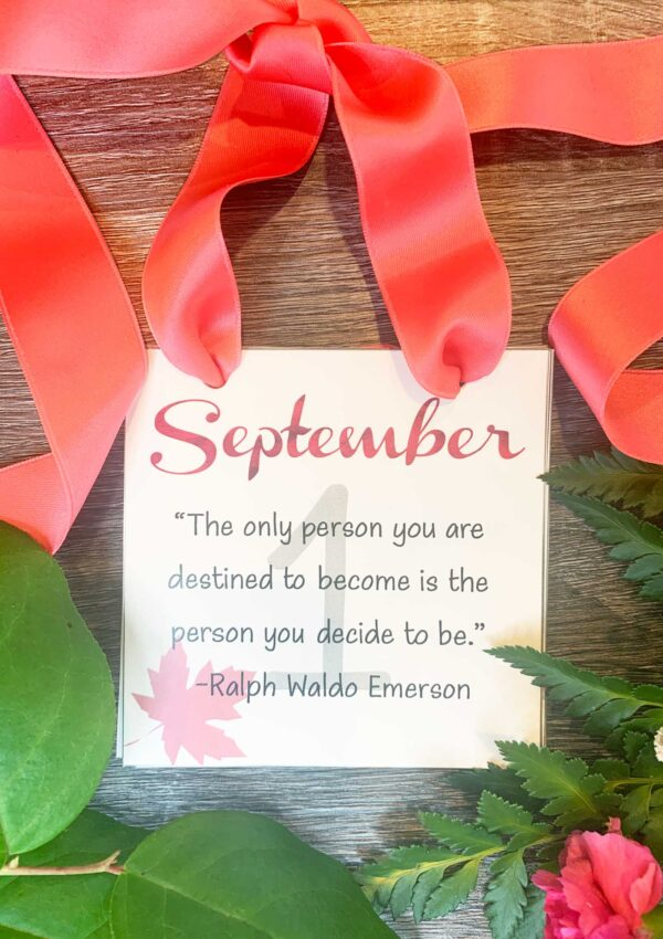 september inspirational calendar with red ribbon