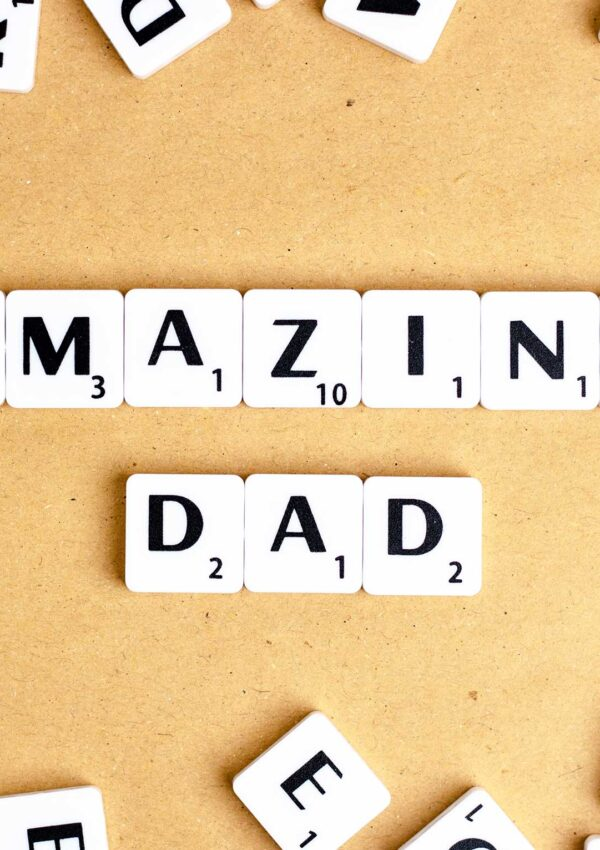 fun father's day gifts. amazing dad spelled out in scrabble letters.