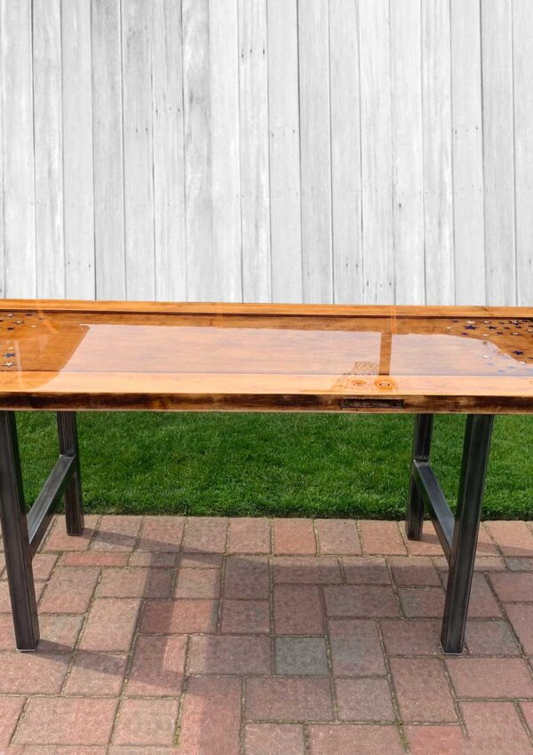 old door turned dining table