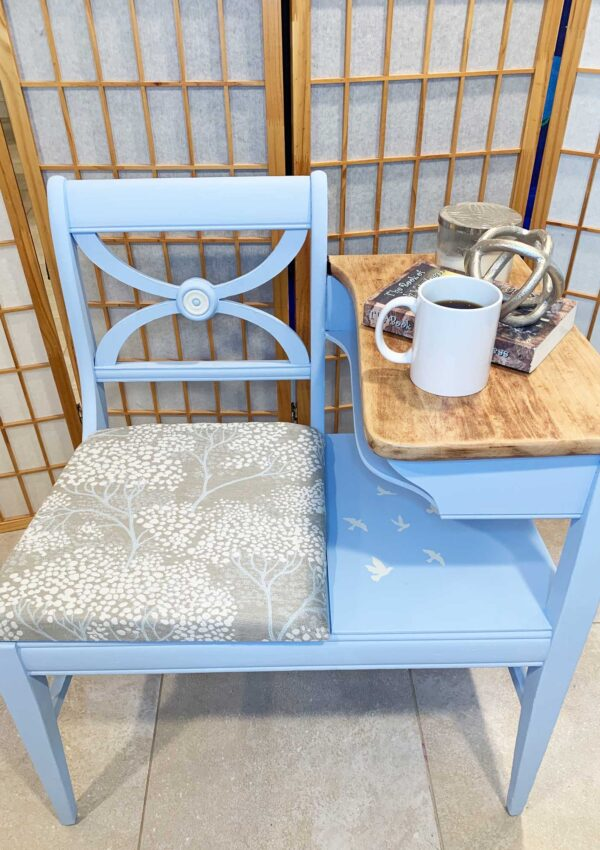 blue painted telephone chair
