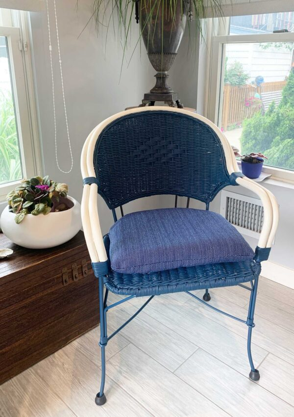painted wicker furniture makeover chair in blue and cream