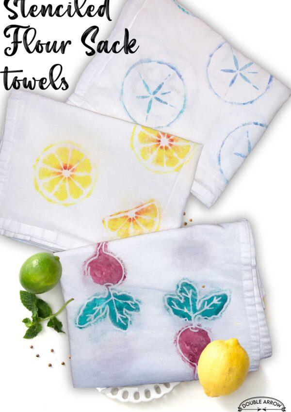 stenciled flour sack towels