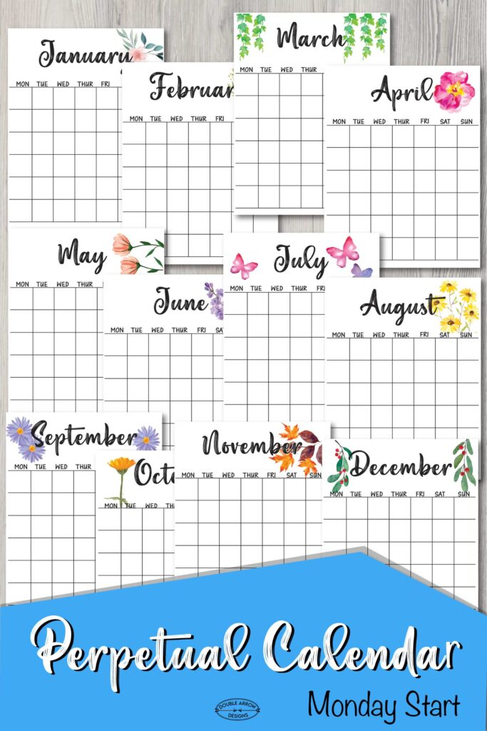 Perpetual calendar 12 months with Monday start date