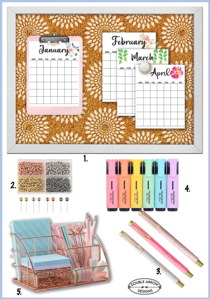 bulletin board with perpetual calendar and desk supplies