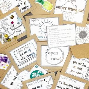 open when labels on craft paper envelopes