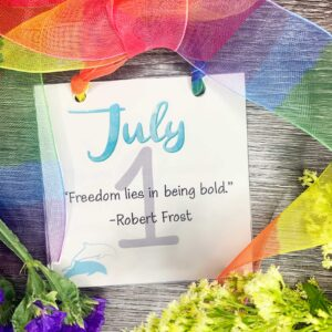 July-calendar inspirational calendar with ribbon and flowers
